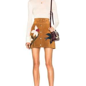 Red Valentino Suede Patch Mini Skirt